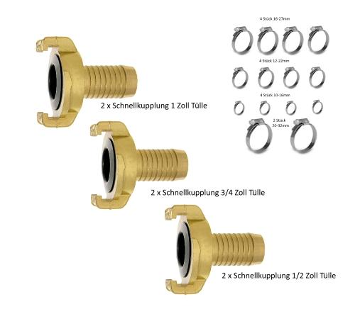 """Geka Schlauckupplung Set 3//4/"""" 1//2/"""" Schlauchklemmen 32-teilig Tülle 1/"""""""